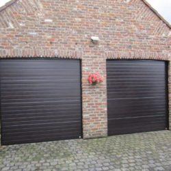 Création d'une double porte de garage sectionnelle brune – FT Chassis